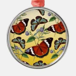 Schmetterlinge mischen Gelb Silbernes Ornament