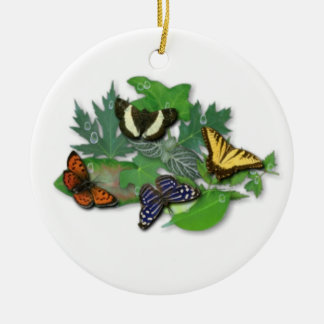 Schmetterlinge mit Blätter, Regentropfen Keramik Ornament
