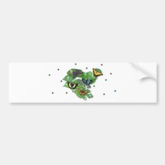 Schmetterlinge mit Blätter, Regentropfen, Perlen Autoaufkleber