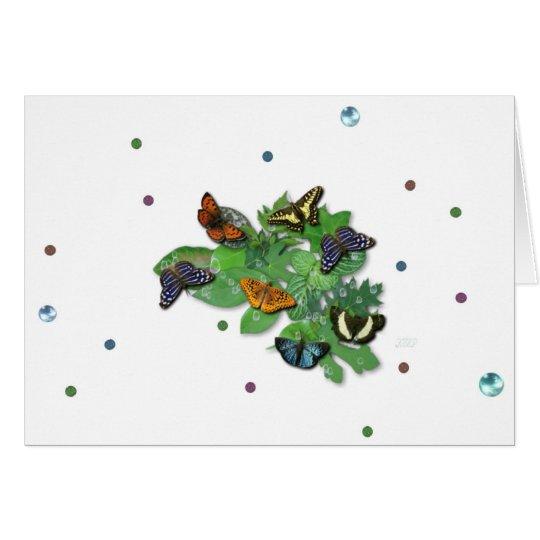 Schmetterlinge mit Blätter, Regentropfen, Perlen Karte
