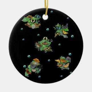 Schmetterlinge mit Blätter, Regentropfen, Perlen Keramik Ornament