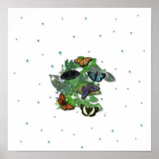 Schmetterlinge mit Blätter, Regentropfen, Perlen Poster