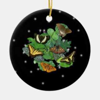 Schmetterlinge mit Blätter, Regentropfen, Sterne Keramik Ornament