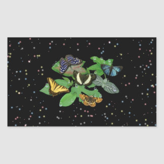 Schmetterlinge mit Blätter, Regentropfen, Sterne Rechteckiger Aufkleber