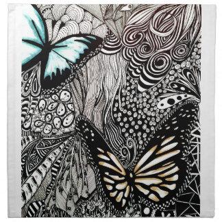 Schmetterlinge mit Schwarzweiss-Entwurf Serviette
