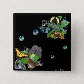 Schmetterlinge Quadratischer Button 5,1 Cm