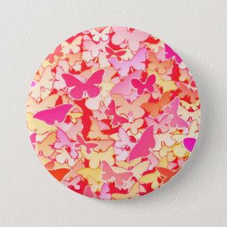Schmetterlinge, Rosa, Pfirsich, Koralle Runder Button 7,6 Cm