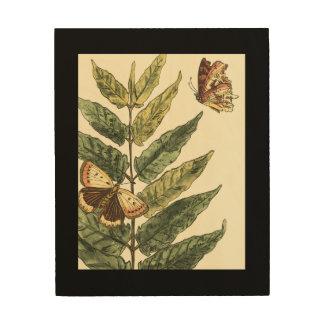 Schmetterlinge u. Blätter mit schwarzem Rahmen Holzwanddeko