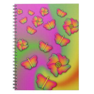 Schmetterlinge u. Blumen Notizblock