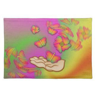Schmetterlinge u. Blumen Stofftischset