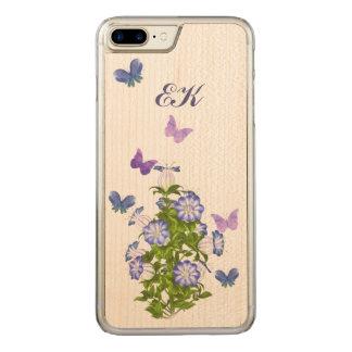 Schmetterlinge und Bell-Blumen, Monogramm Carved iPhone 8 Plus/7 Plus Hülle
