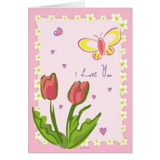 """Schmetterlinge und Blumen """"ich Liebe Sie"""" Karte"""