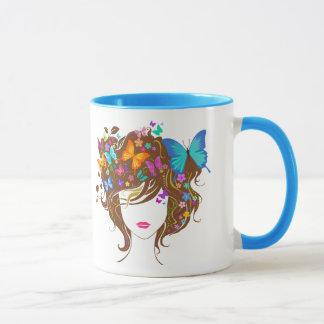 Schmetterlinge und Blumen Tasse