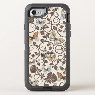 Schmetterlinge und Rosen auf Creme OtterBox Defender iPhone 7 Hülle