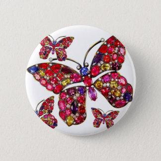 Schmetterlingrhinestone-Vintages Runder Button 5,1 Cm