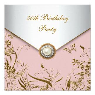 Schmetterlings-50 Geburtstags-Party der Frau Gold Individuelle Ankündigung