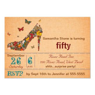 Schmetterlings-Absatz-50. Geburtstag laden ein 12,7 X 17,8 Cm Einladungskarte