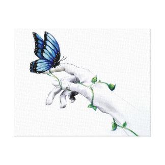 Schmetterlings-an Hand Leinwand