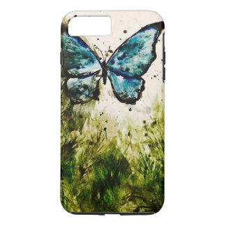 Schmetterlings-Aquarell-Nr. 1 - blaues Morpho u. iPhone 8 Plus/7 Plus Hülle