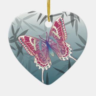 Schmetterlings-Bambus verlässt blaues Keramik Herz-Ornament