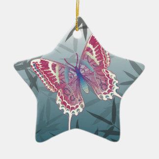 Schmetterlings-Bambus verlässt blaues Keramik Stern-Ornament