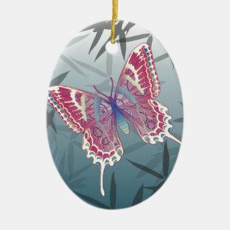 Schmetterlings-Bambus verlässt blaues Ovales Keramik Ornament