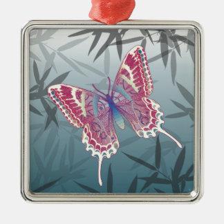 Schmetterlings-Bambus verlässt blaues Quadratisches Silberfarbenes Ornament