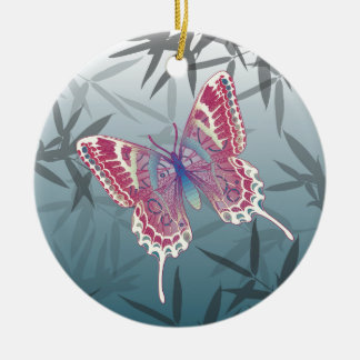 Schmetterlings-Bambus verlässt blaues Rundes Keramik Ornament