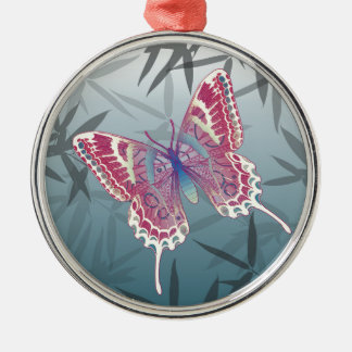 Schmetterlings-Bambus verlässt blaues Silbernes Ornament