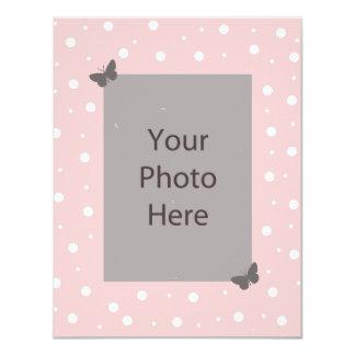 Schmetterlings-Blasen-Hochzeits-Einladung - rosa 10,8 X 14 Cm Einladungskarte
