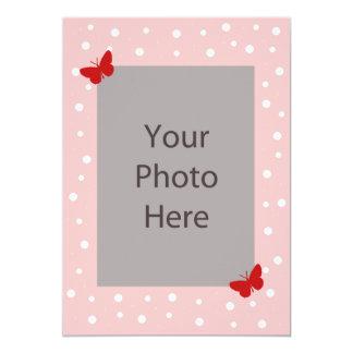 Schmetterlings-Blasen-Hochzeits-Einladung - Rosa 12,7 X 17,8 Cm Einladungskarte