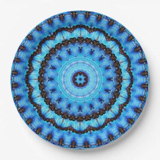 Schmetterlings-Blau-Mandala Pappteller