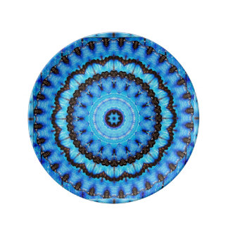 Schmetterlings-Blau-Mandala Teller