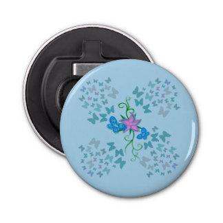 Schmetterlings-Blau Runder Flaschenöffner