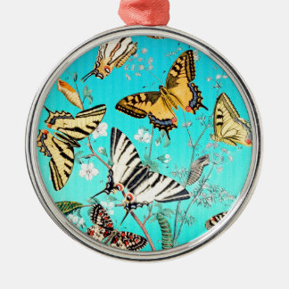 Schmetterlings-blaue Mischung Rundes Silberfarbenes Ornament
