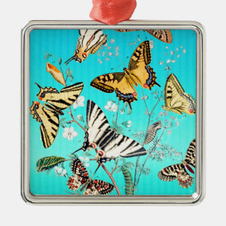 Schmetterlings-blaue Mischung Silbernes Ornament