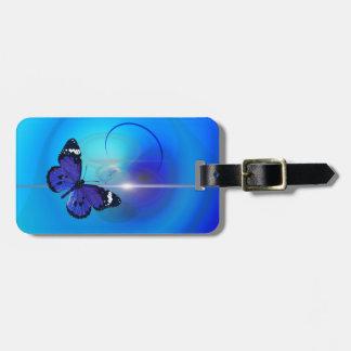 Schmetterlings-blauer Gepäckanhänger mit Lederband