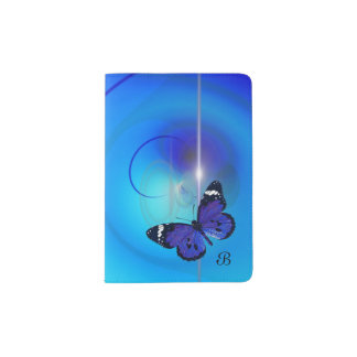 Schmetterlings-blauer Monogramm-Pass-Halter Passhülle