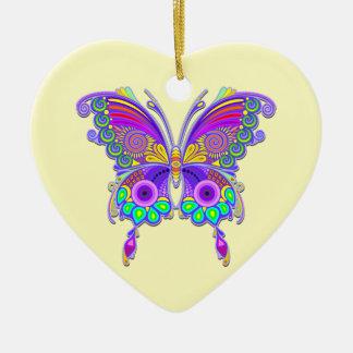 Schmetterlings-bunte Tätowierungs-Art Keramik Herz-Ornament