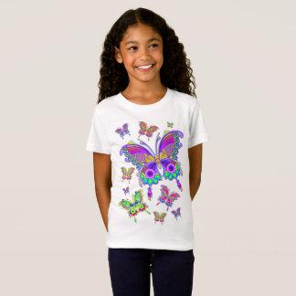Schmetterlings-bunte Tätowierungs-Art T-Shirt