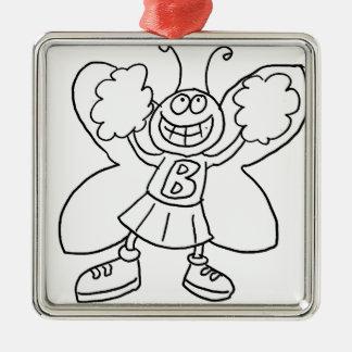 Schmetterlings-Cheerleader Silbernes Ornament