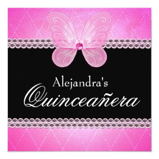 Schmetterlings-Diamanten rosa Quinceanera