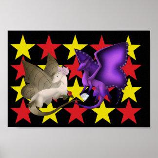 Schmetterlings-Drache-beste Freund-Sterne Poster