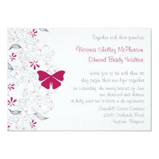 Schmetterlings-dunkle rosa launische 12,7 x 17,8 cm einladungskarte
