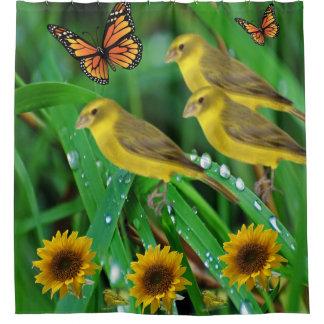 Schmetterlings-Duschvorhang der gelben Vögel Duschvorhang