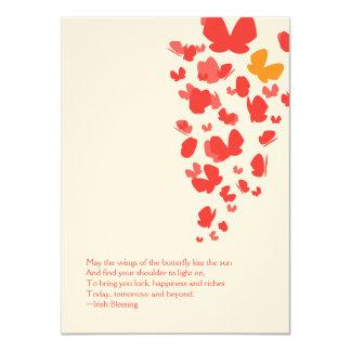 Schmetterlings-Flug Notecard im Rosa, in der 11,4 X 15,9 Cm Einladungskarte