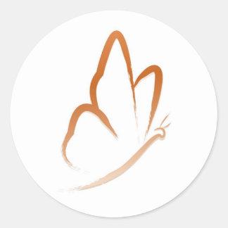 Schmetterlings-Flug (orange und einfach) Runder Aufkleber