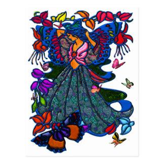 Schmetterlings-Frau in Paisley kreiste durch Postkarte