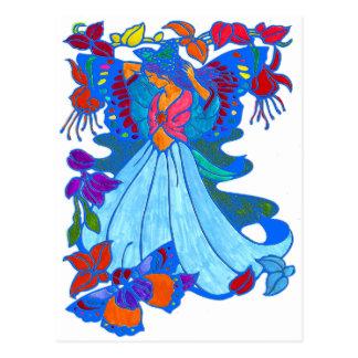 Schmetterlings-Frauen-Blumenmuster Postkarte