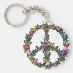 Schmetterlings-Friedenssymbol Standard Runder Schlüsselanhänger
